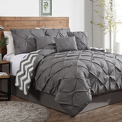 Geneva Home Fashion Ella Pinch Pleat Comforter Set - Grey - Size: Queen