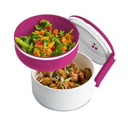 Microwaveable Lunch Boxes: 2-Tier Round/Magenta