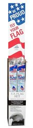 American Flag, Outdoor Kit 3 x 5 Foot Flag with 6 Foot Tin Plated Pole (25129)