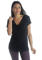 Women's Convertible Cowl-Neck Top - Black - Size: Large