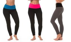 Women's Yoga Leggings W Foldover Waistband 2-Pack - Black/Grey - Size: S/M 356381