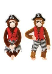 """Ddi 16"""" Plush Pirate Monkeys - In 2 Natural Colors (Pack Of 24)"""
