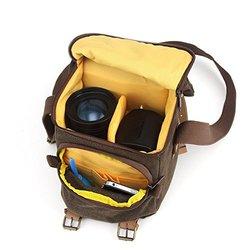 Bestek Waterproof Canvas Slr Dslr Camera Shoulder Bag Messenger Backpack Gadget Bag With Shockproof Insert Brown