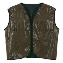 Beistle - 60260 - Faux Brown Leather Cowboy Vest with Fringe - Pack of 4
