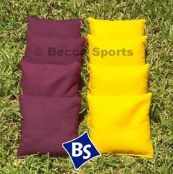 Weather Resistant Cornhole Bags Pack of 8 - Yellow & Burgundy