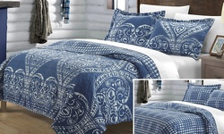 Chic Home Livorno Reversible Printed Quilt Set - Silver - Size: Twin