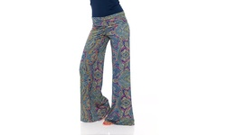 White Mark Women's Paisley Palazzo Pants - Navy/Pink - Size: X-Large